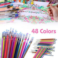 48 Colors Gel Pens Glitter Coloring Painting Drawing Craft Markers Stationery