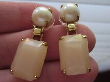 KATE SPADE NY LINEAR Drop Earrings Opening Night Gold PEARL Rhinestone BLUSH