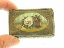 "ANTIQUE STERLING SILVER HAND PAINTED ENAMELED ""MUSIC BAND"" SNUFF BOX - VERY RARE"