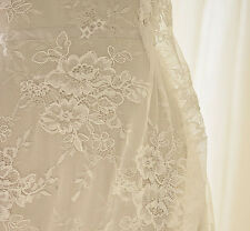 """Ivory Embroidery Bridal Lace Fabric 59"""" Wide Corded Wedding Lace Fabric 1/2 Yard"""