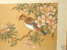 VINTAGE CHINESE JAPANESE SIGNED BIRD FLOWER BRANCH WATERCOLOR PAINTING ON SILK 1