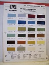 1972 Lincoln Continental Mark IV Thunderbird Paint Chips Color Chart R-M 72 Ford