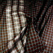 "Vintage Cotton 36"" W, Yarn Dyed Border Print With Check, Brown & White, BTY"