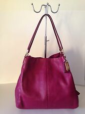 Coach Madison  Phoebe Leather Cranberry Pink Handbag Shoulder Bag Purse  26224