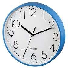 22cm Clear View White Blue Quartz Wall Clock Home Office Kitchen Silent Run