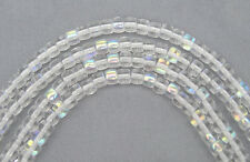 51 Czech Glass Druk Beads 4x5mm Crystal AB pressed chunky spacer, clear AB, P205
