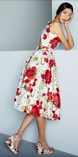 $2.8k DOLCE & GABBANA RED POPPY DAISY PRINT OPEN BACK DRESS 44 IT/US 8 $2795