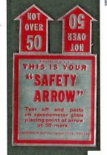 Vintage Label SAFETY ARROW Lumbermens Mutual Insurance Speedometer car safety