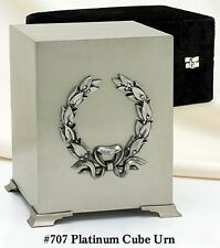 ADULT SILVER, BRASS CUBE FUNERAL CREMATION URN WITH BOX