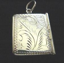 Solid Silver engraved envelope stamp case photo holder Locket Fob Chatelaine