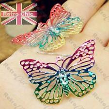 MULTI-COLOUR BUTTERFLY EARRINGS psychedelic RETRO festival RAINBOW cutout pink