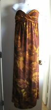 NWT SERENA WILLIAMS REVERSIBLE BROWN YELLOW FLORAL FLOWING MAXI DRESS SZ M