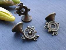 Antique Bronze Trombone Charms 5pcs D1 Steampunk Vintage Pendants Gold Kitsch
