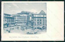 Napoli Città Piazza San Ferdinando Tram PIEGHINA cartolina XB5257