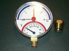 """Thermomanometer TM 80 radial  (unten) Gehäusedurchmesser 80 mm, R 1/2"""", 0-4 bar"""