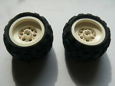 Lego 2 roues blanches set 8408 8032 8252 8230 / 2 white wheels w/ tires
