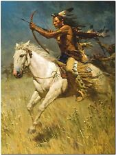 """Native American Indian on Horse by Liang - Canvas Print Poster  24X18"""""""