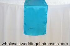 LOT OF 10 MALIBU TURQUOISE SATIN WEDDING TABLE RUNNERS TABLERUNNER