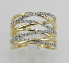 Yellow Gold Wide Diamond Crossover Ring Multi Row Band Size 7 Modern New
