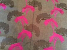 Stunning Curtain fabric brown and pink oriental tree pattern 1.2 meters remnant