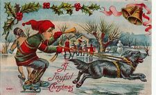 1914 A JOYFUL CHRISTMAS dog pulling child on skates with horn