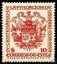 CHILE, COAT OF ARMS, 400 YEARS CITY OF OSORNO, 1958, MNH