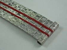 Vintage Unused straight 17.5mm stainless steel watch band w red racing stripes
