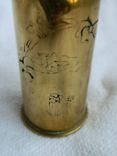 UNFINISHED  WW1 TRENCH ART VASE ARTILLERY SHELL PANSY FIELD DESIGN W FARM & SILO