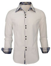 Mens Double Collar Shirts Long Sleeve Slim Fit Formal Casual Cotton Dress