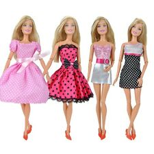 4 Pcs Fashion Dolls Clothes Mini Dress Casual Wear Lady Skirt for Barbie Doll S