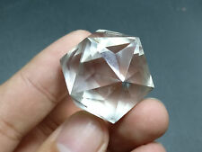 1 pcs 60 sided NATURAL clear QUARTZ CRYSTAL Diamond Cut FACETED CRYSTAL sphere