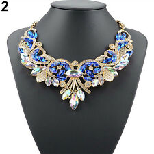 Rhinestone Flower Pendent Chain Choker Statement Collar Bib Necklace Stunning