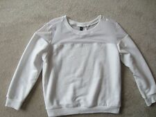 WOMENS H&M Divided WHITE LONG SLEEVE Mesh Part SWEATER Knit Top Shirt Large