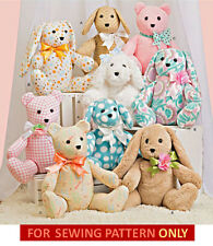 SEWING PATTERN! MAKE BABY~CHILD CLOTH TOYS! 2 PIECE BUNNY~BEAR~DOG! STUFFED~SOFT