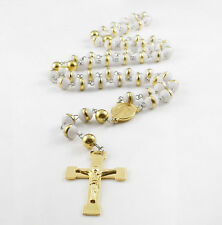 White Silicone Rosary Necklace Stainless Steel Gold Religous Beads Crucifix 8mm