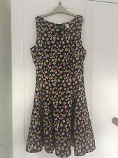 Floral Dress Black Yellow Pink Pretty Summer Dress Size 10