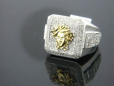14K Gold Diamond Mens Medusa Ring 2.28 Carat Versace Style