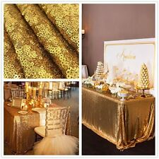 "90""x132"" GOLD Sequin RECTANGULAR Tablecloth Sparkling Gold Sequin Table Covers"