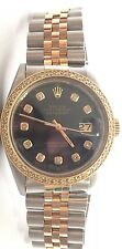 Rolex mens two tone diamond dial diamond Bezel 36mm Date just automatic watch