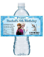 20 DISNEY FROZEN BIRTHDAY WATER BOTTLE LABELS waterproof ink