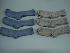 NWOT Women's Merino Wool Blend Ribbed Socks Shoe Size 6-9 Blue/Brown 6 Pair