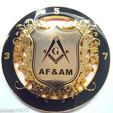 Fraternal Freemasons 3.5.7 Masonic Key AF&AM Auto Car Emblem Black And Golden