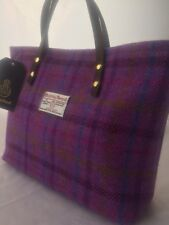 Harris tweed handbag purple tartan bag womens gift for her womans gift Scottish