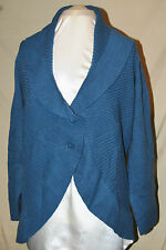 MOTTO SO CHIC & UNIQUE RIB KNIT TWO BUTTON FRONT SHAWL COLLAR CARDIGAN BLUE 2X