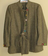 MARNI Italy Wool Green Art-to-Wear Funky Floral Buttons Front Tie Jacket 40 10