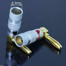 1pair Nakamichi Gold L Shape Angle Banana Plug Audio Speaker Cable Connector