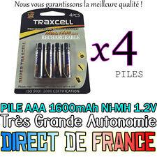 4 Piles AAA Rechargeables 1600mAh 1.2V NIMH C.F.L. R3 R03 LR3 LR03 Batterie Accu
