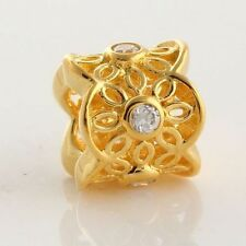 Sterling Silver 925 18k Gold Plated Euro Cubic Zirconia Bead For Charm Bracelet