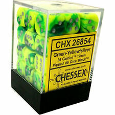 Chessex Dice Green Yellow with Silver Gemini D6 12mm Set of 36 Die CHX 26854