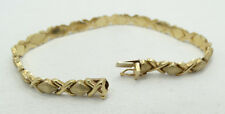 Beautiful 14K Yellow Gold X's and O's Gold Brushed Bracelet A4